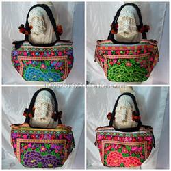 Thai Hmong Tribal Ethnic Vintage Rose Embroidered Tote Bag Handbag Thailand