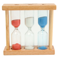 1/3/5Min Wood Frame Glass Sand Sandglass Hourglass Timer Clock Time Decor Gift