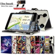 Hot! Multiple Patterns Printed PU leather Stand Cover, Magnetic Flip Universal Tablet Case 8 inch For Perfeo 8082-IPS 8""