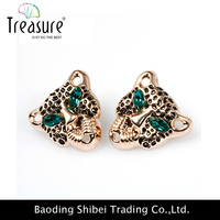 Wholesale china factory fashion jewelry leopard green crystal alloy earring