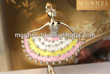H427-1 Monnel 2015 Custom Alloy Made Clear Crystal Ballet Girl Pink White Yellow Dress Dancer DIY Metal Charm Necklace Pendant