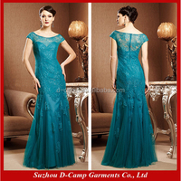 ME-051 Elegant tulle and lace turquoise mother of the bride bohemian style mother of the bride dress with sleeves