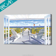 Modern white house and white chair European seascape painting for wholesale