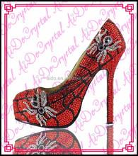 Aidocrystal 2015 mature Italian fashion red sexy high heels Crystal Diamond dress shoes for women