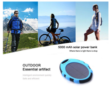 Waterproof Portable 5000mAh Solar power bank with Dual USB Port