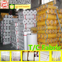polyester and cotton blended fabric / bleached plain poly cotton fabric 45s