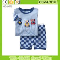 Short sleeve kids pajamas printed t shirt + gird pants sleepwear