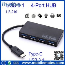 2015 High Quality USB3.1 Hub, USB 3.1 Type-C to USB 3.0 A Male Cable Adapter 4 Port USB Hub for Macbook etc