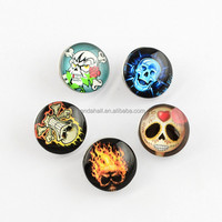 18mm Skull Picture Covered Snap Button for Jewelry(X-GLAA-R031-M4)