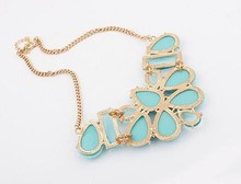 new design! butterfly Acrylic gold China fashion statement necklace