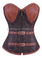 Women wholesale Latex waist leather for woman Brown Steampunk Floral Jacquard Corset