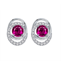 China New Innovative Product Hot Sale in European Precious Stone Jewelry Round Cubic Zirconia Stud Earring Fashion Earrings 2015