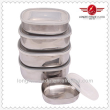5pcs stainless steel food storage container with lid