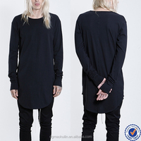 wholesale custom tall tee long sleeve black longline t shirt elongated extended t shirt