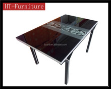 hot sell glass dining table/dining room furniture metal legs