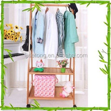 Easy Move Bamboo Clothes Storage Rack with Wheels