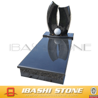 Shanxi black tombstone, headstone with crystal ,granite monument