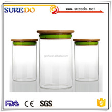 Vacuum Airtight Cork Cap Seal Glassware Glass Jar Container With Wood Lid