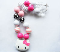 DIY 2 PCS Fashion Hello kitty kids chunky necklace For kids