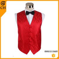 2015 Latest Custom Fashion Men Red Jacquard Polyester Waistcoat