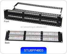 UTP Cat.6 Patch Panel, 48 Port 110 or Dual Use IDC, with Back Bar (Three windows)