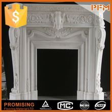 Luxurious decorative for home hand-craved white marble italian fireplace mantel