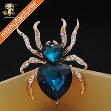 brooch manufacturers blue glass heart Spider brooches wholesale animal rhinestones brooch pin