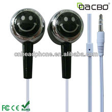 colorful smile face earphone with many veries design for mp3