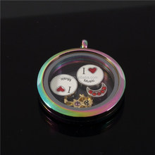stainless steel rainbow color round floating charm locket pendant