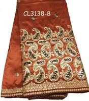 CL3138-8 african beaded george fabric raw silk george fabric from india silk george fabric
