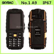 NO.1 A9 waterproof Mobile Phone 4800mAH Dual SIM 3.0MP 2.4 Inch 240*240 Rugged Phone