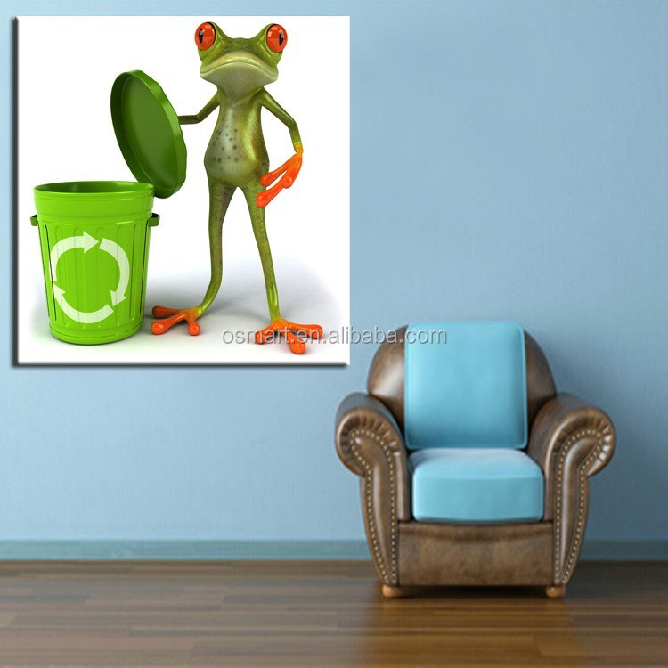 Best Selling Art Work Cartoon Funny Animals Frog Oil Painting ...
