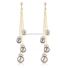2015 Enduring gold plated pearl chandelier dangle earring