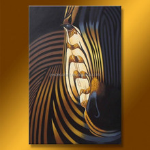 Black and white striped zebra face painting realistic, high-quality hand-painted wall art abstract art painting wholesale