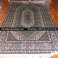 kirman handmade silk area rugs grey