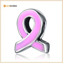 Wholesale Pink Enamel Ribbon 925 Sterling Silver Charms Breast Cancer Awareness
