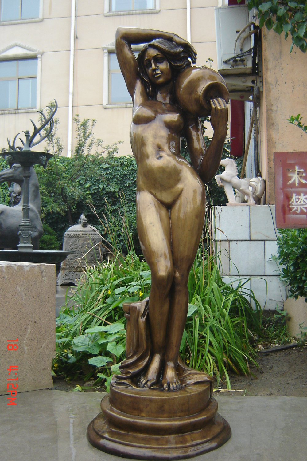 Excellent and Women having sex with statue