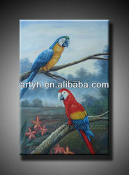 100% handmade oil painting birds with the high quality