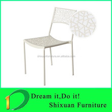 white outdoor stackable plastic dining chair