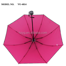 21 Inch mannual pen and close pocket rubber handle costomized diamond 3 foldable umbrella