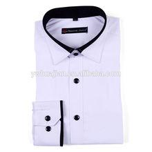 2014 mais recente design de moda slim cor sólida dos homens vestido de camisa com gola de renda preta