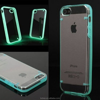 Pc+silicone case for iphone 5s,luminous hard transparent case for iphone 5 5s,