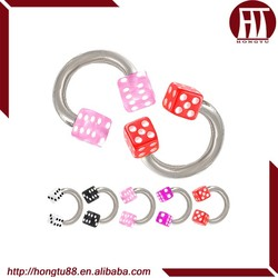 HT 316l Stainless Steel Acrylic Dice Ball Nose Lip Tragus Nipple Body Piercing Circular Barbell Horseshoe Rings