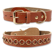3 Size S M L Metal Circle Studded Brown Genuine Leather Dog Pet Collar