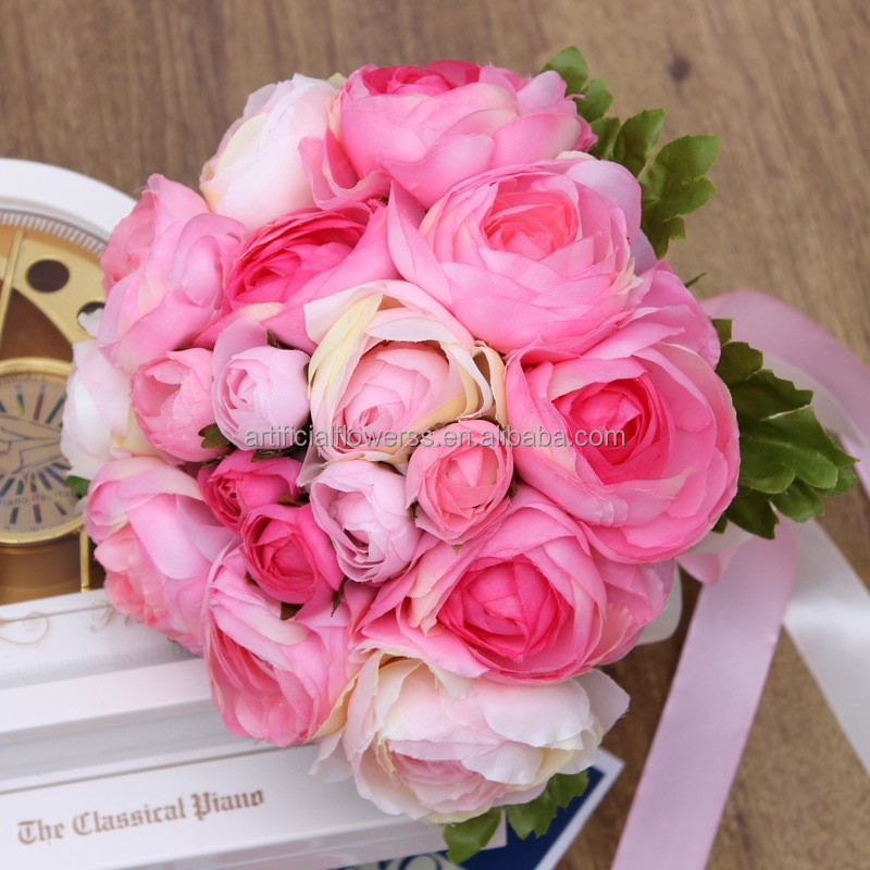 Wholesale Cheap Artificial Flowers Wedding Bridal Bouquet Three Colors