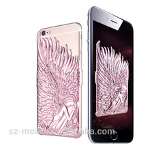 Super luxury electroplating case for iphone 6 plus, wing of the angel phone case for iphone 6 plus, fashion hard pc back cover