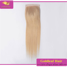 2015 best selling products hair silk straight weave color chart 613# blonde hair closure piece free part