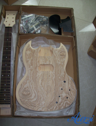 China Aiersi DIY unfinishd Ash Skin SG Style Electric guitar kits