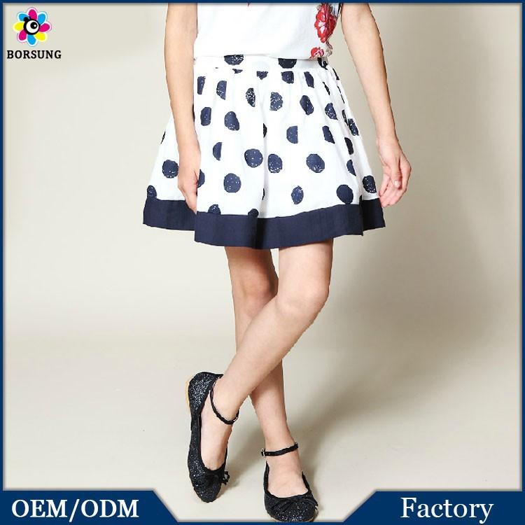 2015New Style Design Navy Blue Little Girls Boutique Dresses Polka Dots Girls Tutu Mini Skirt