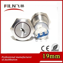 3 position 19mm 3a 250v explosion-proof stainless steel anti vandal push button switch with key